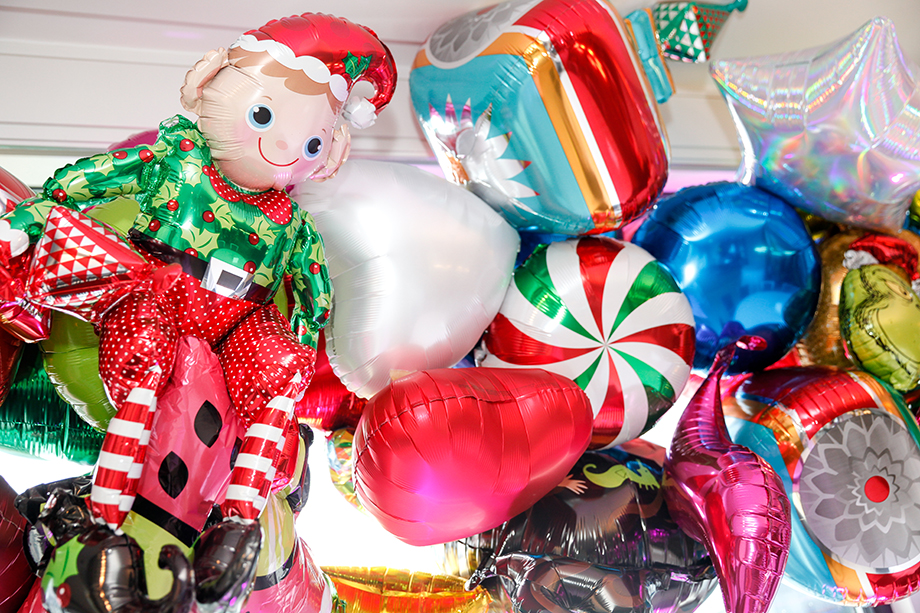 Christmas balloons at Zelda's birthday party.