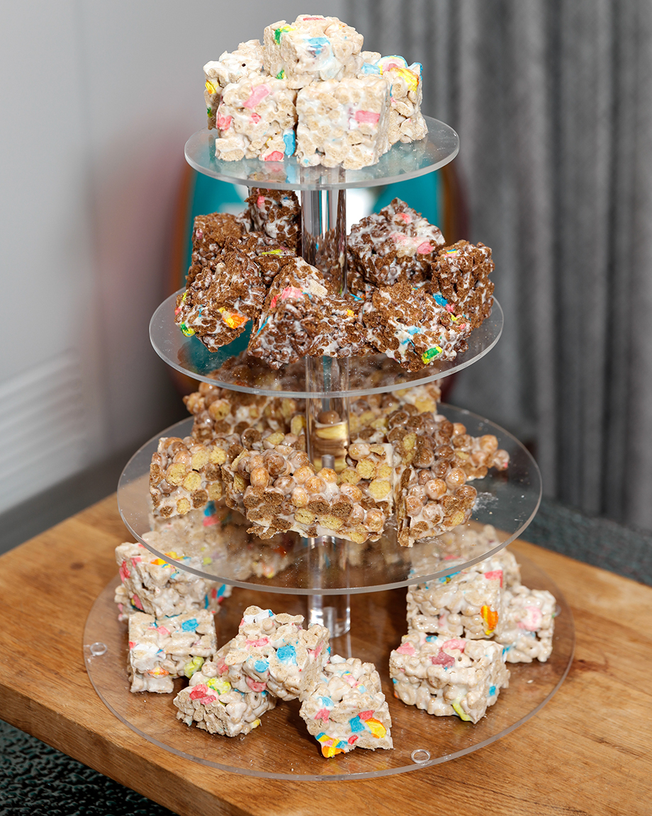 A delicious stack of Rice Krispies treats.