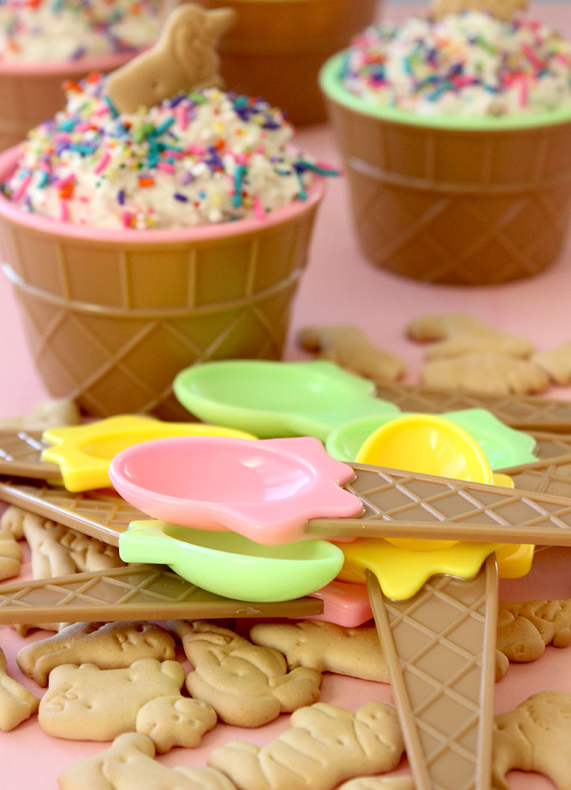 How to make delicious cake batter dip with rainbow sprinkles.