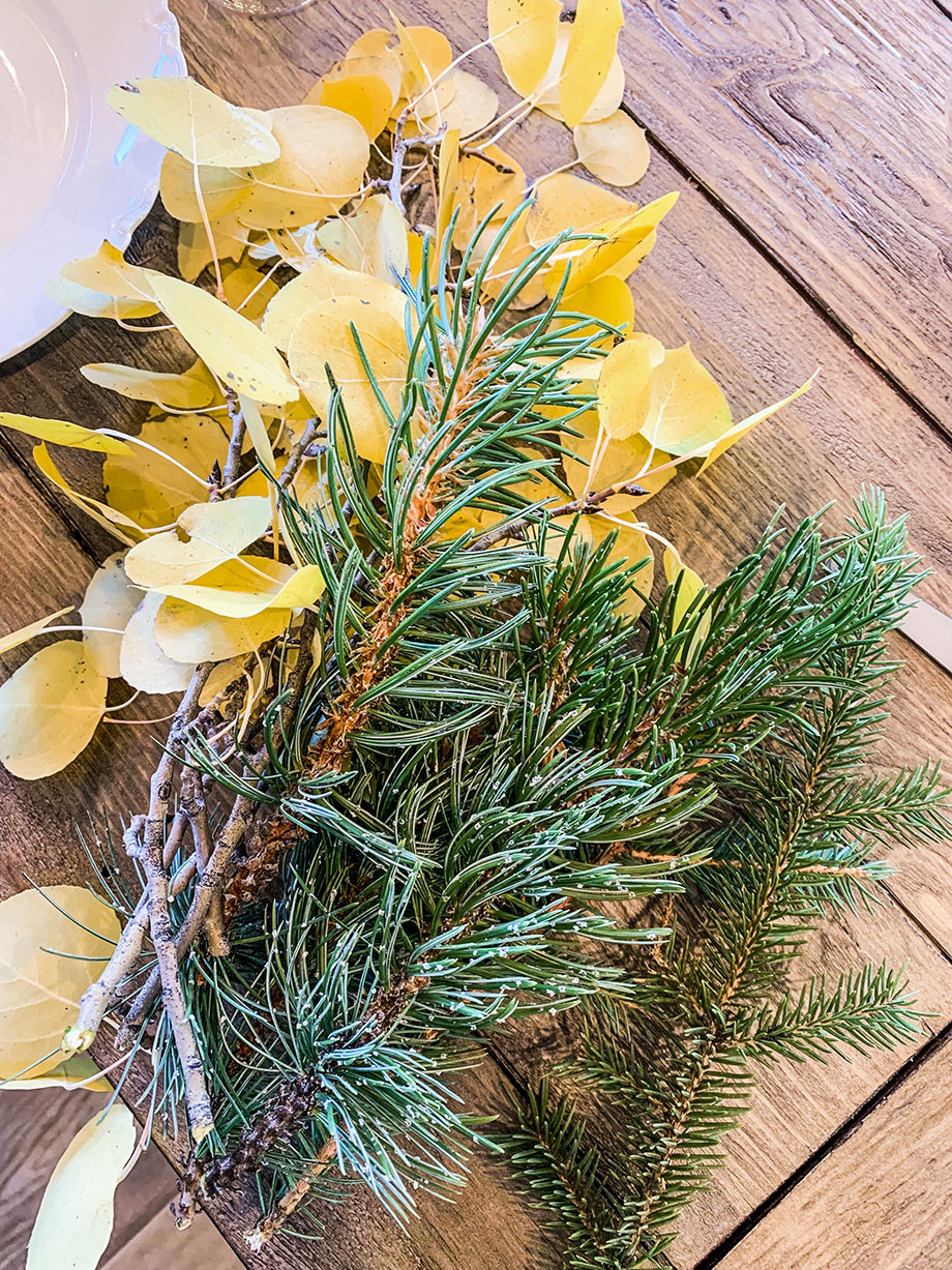 Pine needles from a special Thanksgiving DIY.