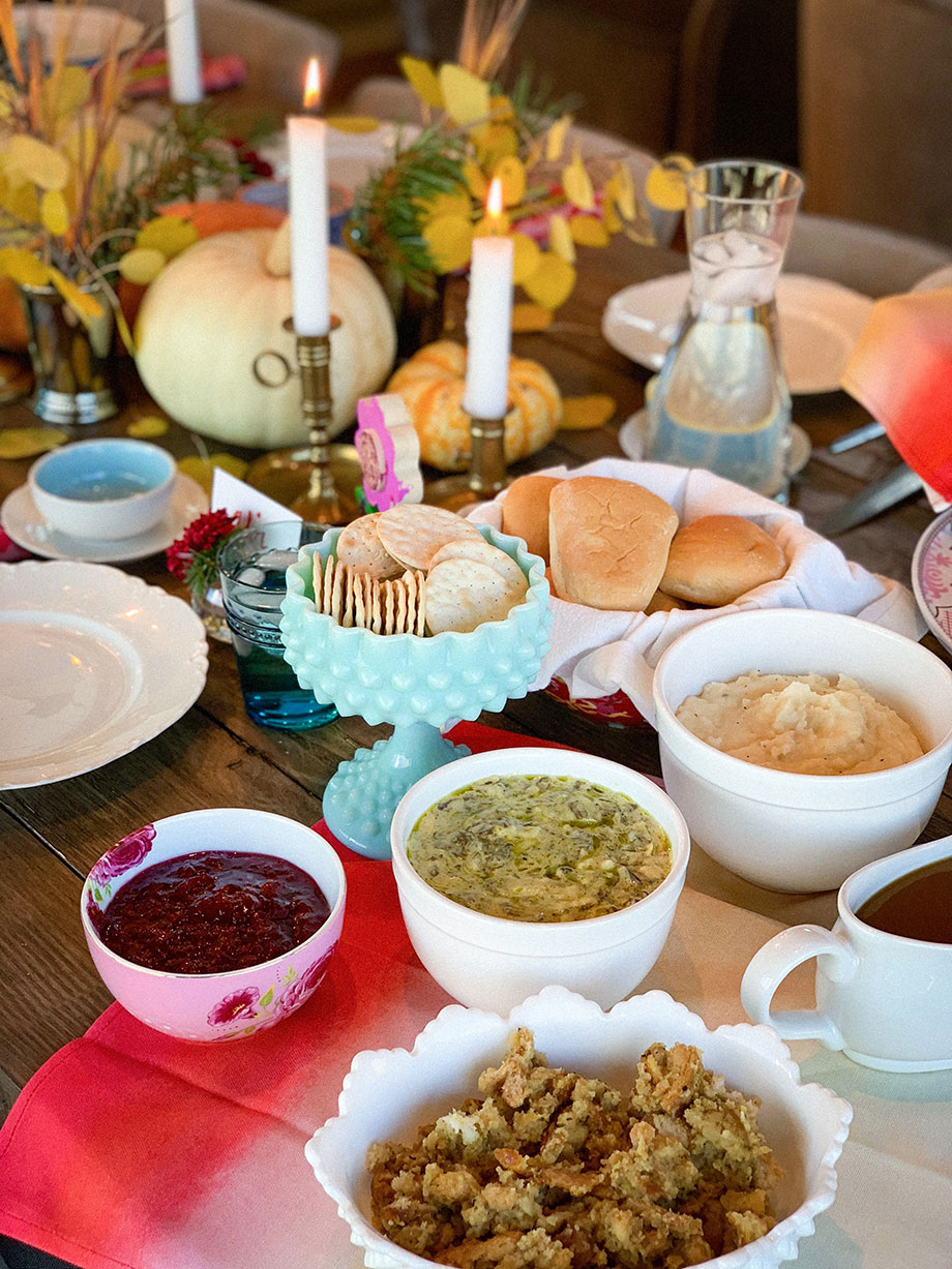 A table filled with Thanksgiving sides from Boston Market.