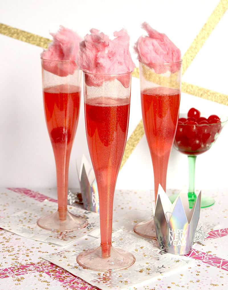 A NYE drink for your little ones featuring cotton candy and cherries.
