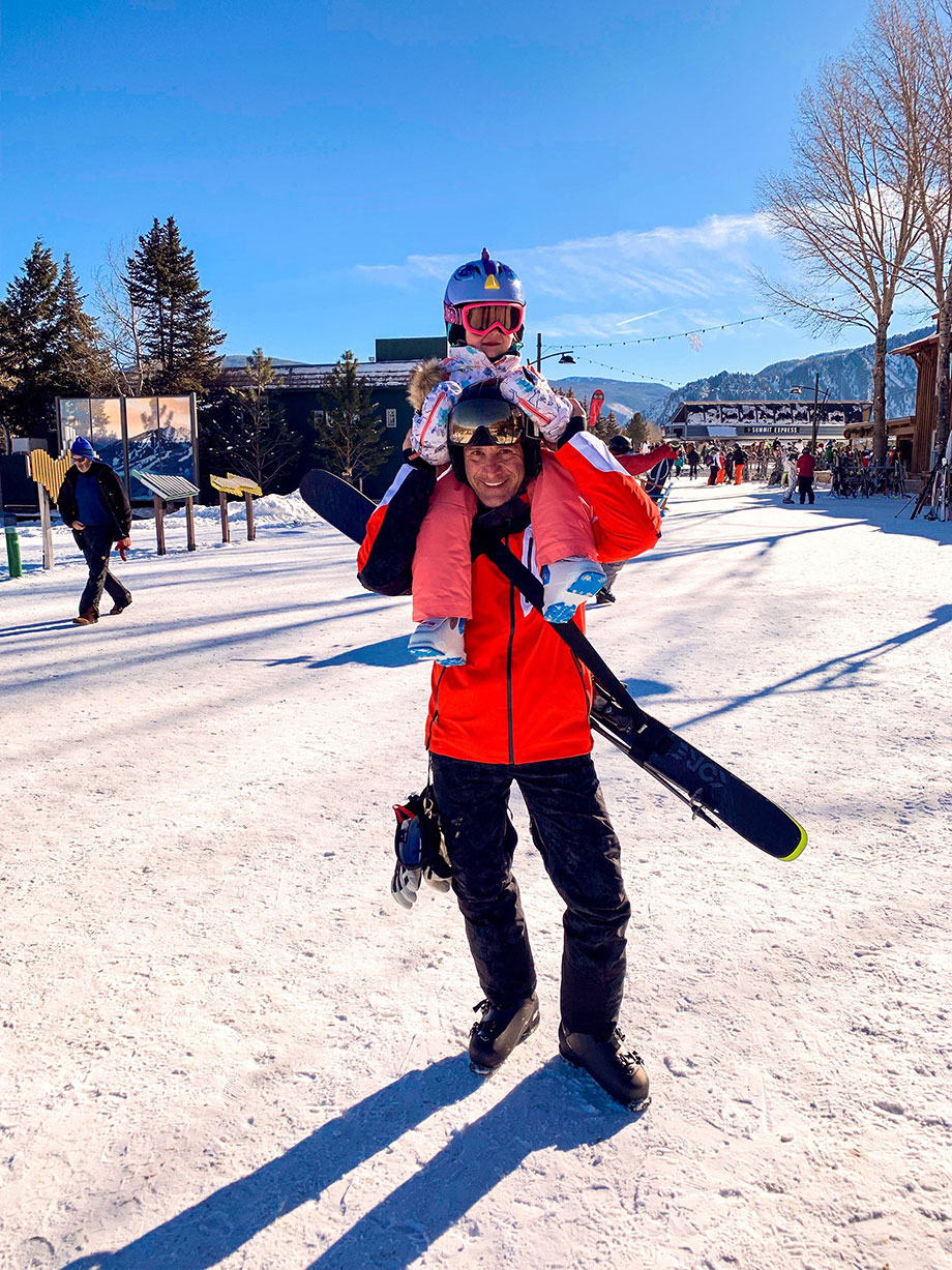 Zelda and Spiro of Glitter and Bubbles ski in Aspen.