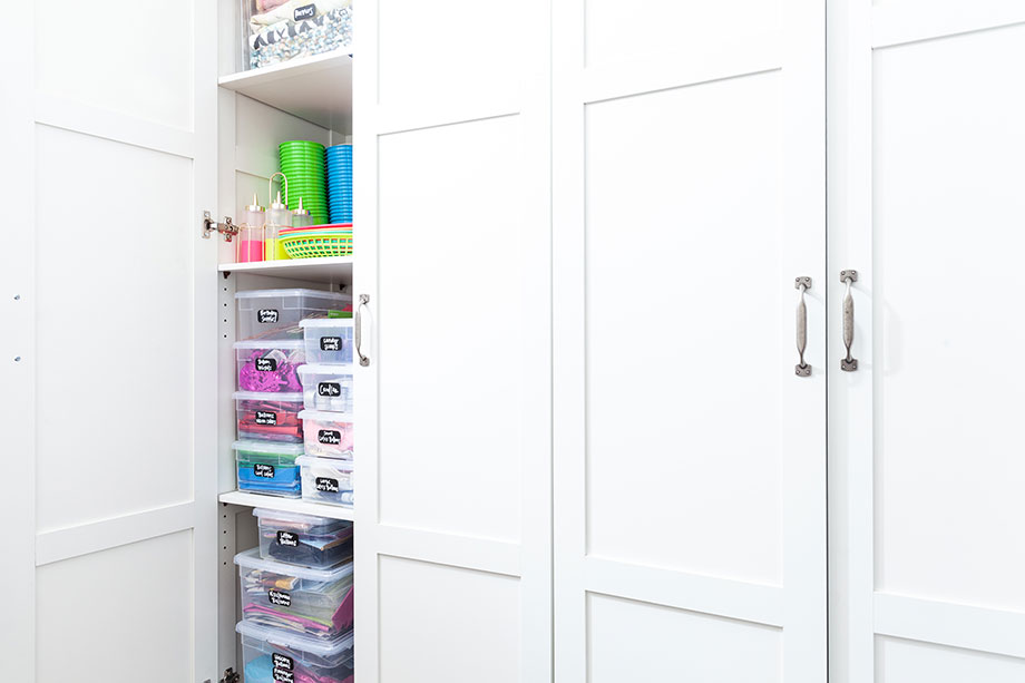 Easy home organization tips for crafts and entertaining.