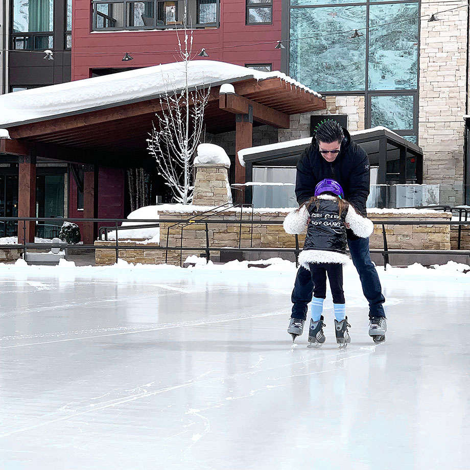 Zelda of Glitter and Bubbles ice skates around Aspen with her dad.