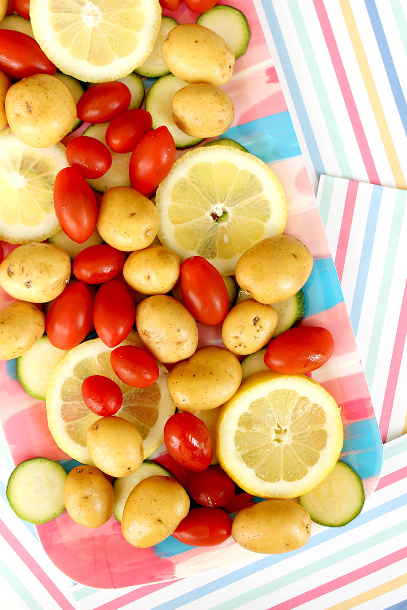 Vegetables for Greek Lemon Chicken Foil Packets on Glitter and Bubbles.