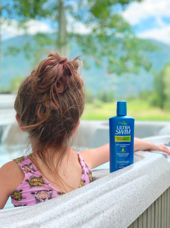 Zelda uses her favorite outdoor favorites summer hot tub shampoo.