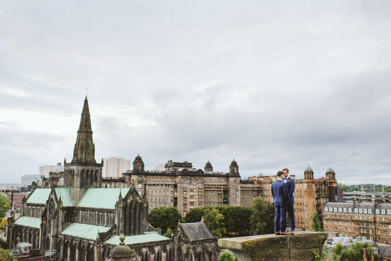 Same-sex wedding portrait in Glasgow near Drygate Brewery
