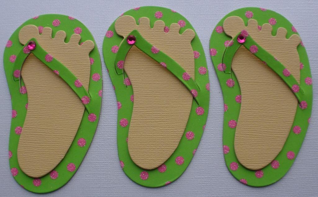 Polka Dot Limegreen Pink Flip Flops Chipboard Cut