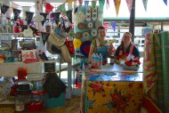 Fellow Richmonder Kelly McCants and her daughter in her MODERN JUNE booth across the aisle. Kelly made all the cheerful banners which were strung between the buildings at the Fair, a mammoth project.