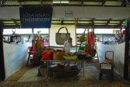 Susannah Thompson's booth with her big hand made bags.