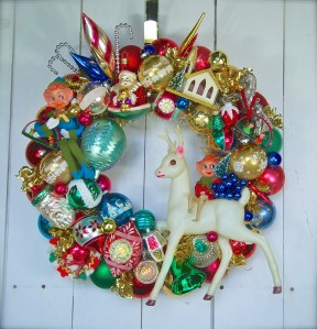 "Custom wreath made with some of the client's own ornaments. 20"" diameter $225 *SOLD*"