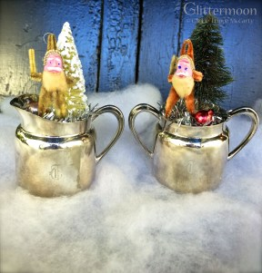 Tiny EPNS sugar & creamer with teeny old chenille Santas & trees $22 each *SOLD*