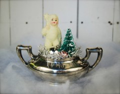 Vintage snow baby in an old EPNS sugar bowl