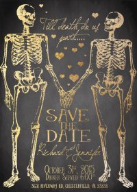 halloween wedding save the date cards
