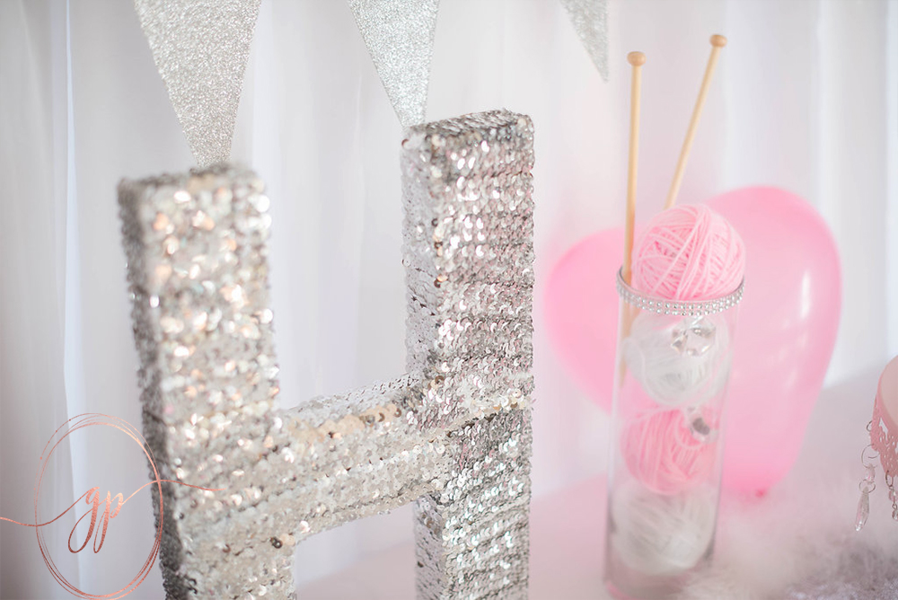 sequin letter diy cat party ideas