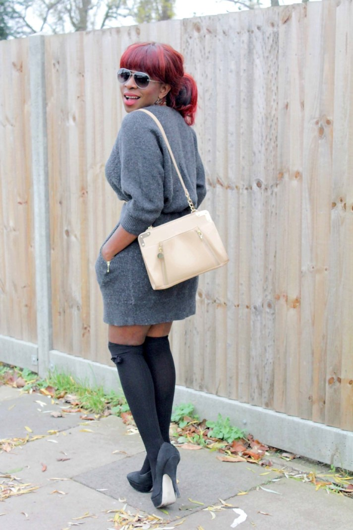 Sweater dress and socks