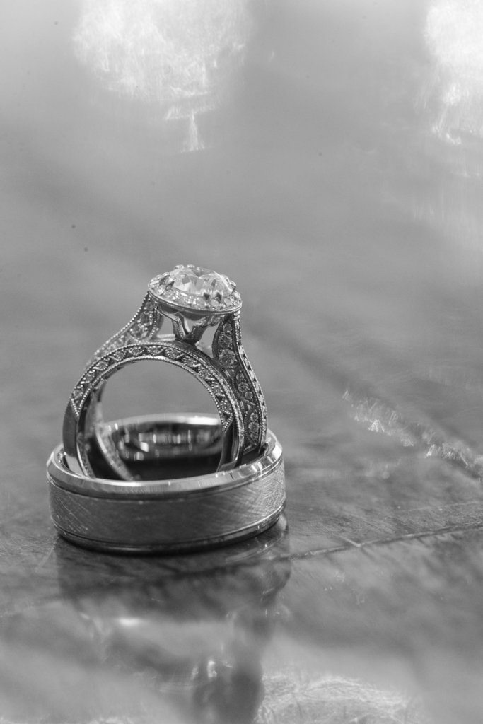 black and white wedding ring picture