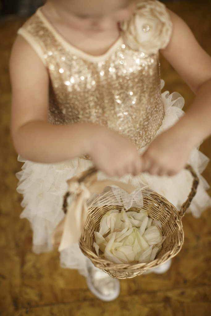 flower girl in golden champagne dress