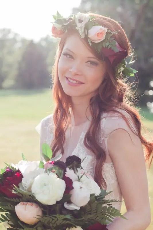 beautiful bride smiling sun