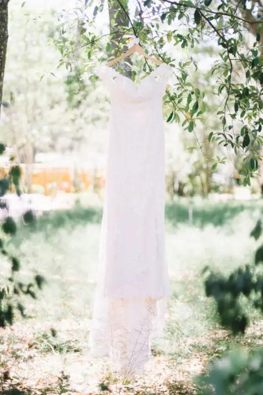 bride dress in trees