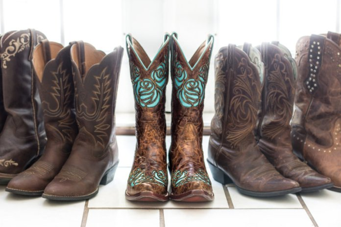 bride brown and teal cowgirl boots