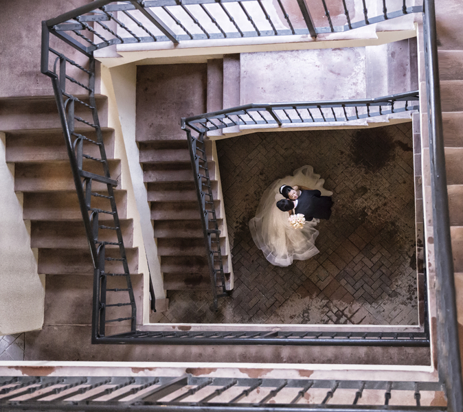 bride and groom staircase photo