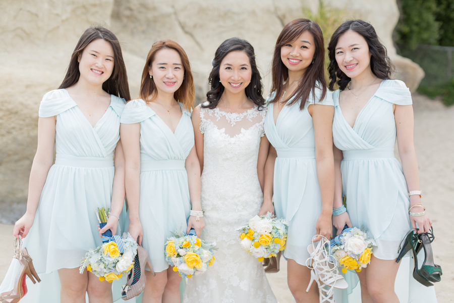 Yellow & Blue Beach Wedding In California
