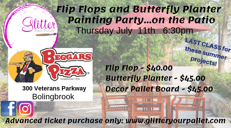 flip flop butterfly painting party