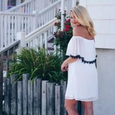 WHITE + NAVY DRESS