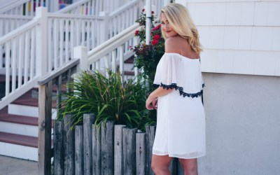 WHITE + NAVY DRESS