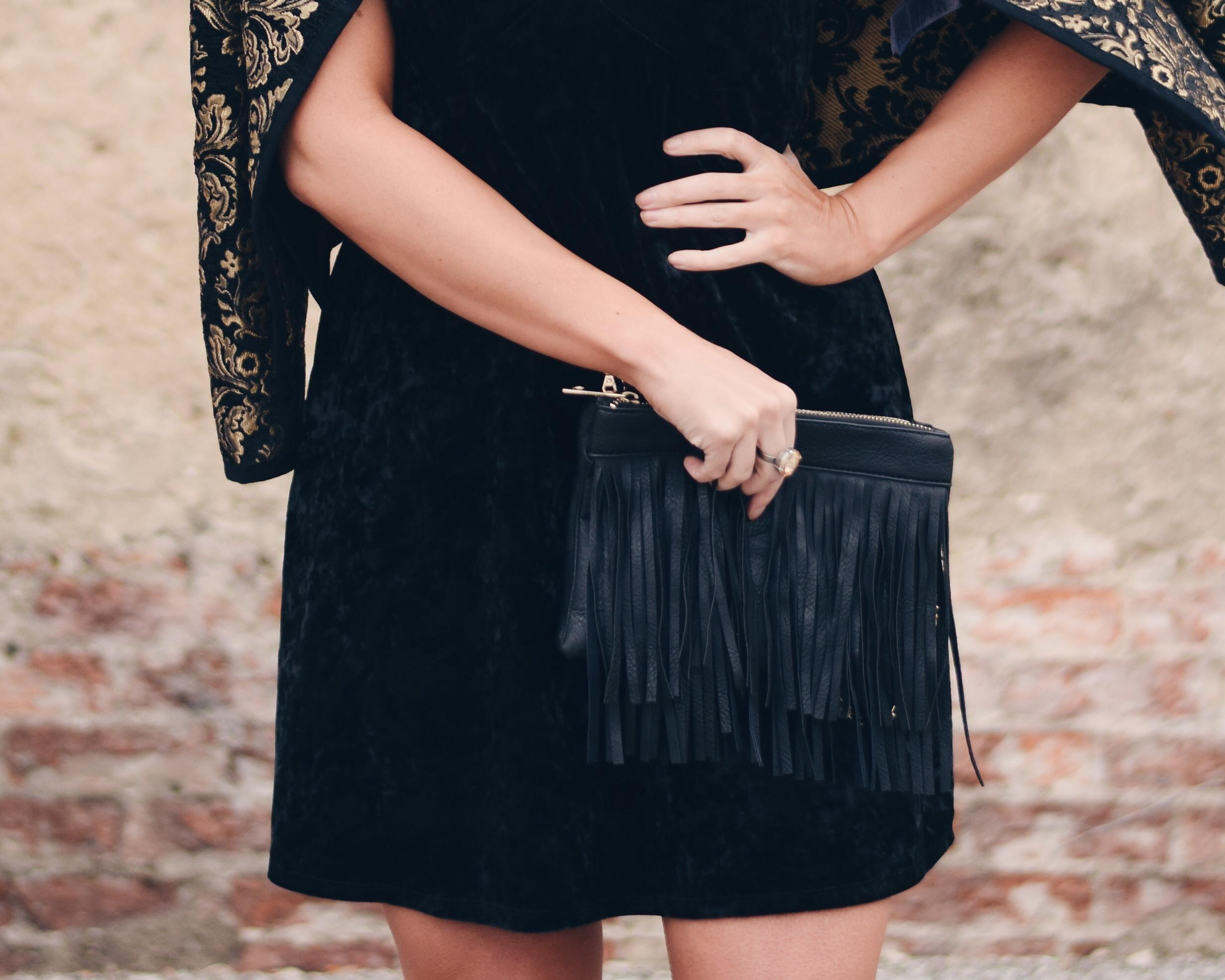 black velvet slip dress