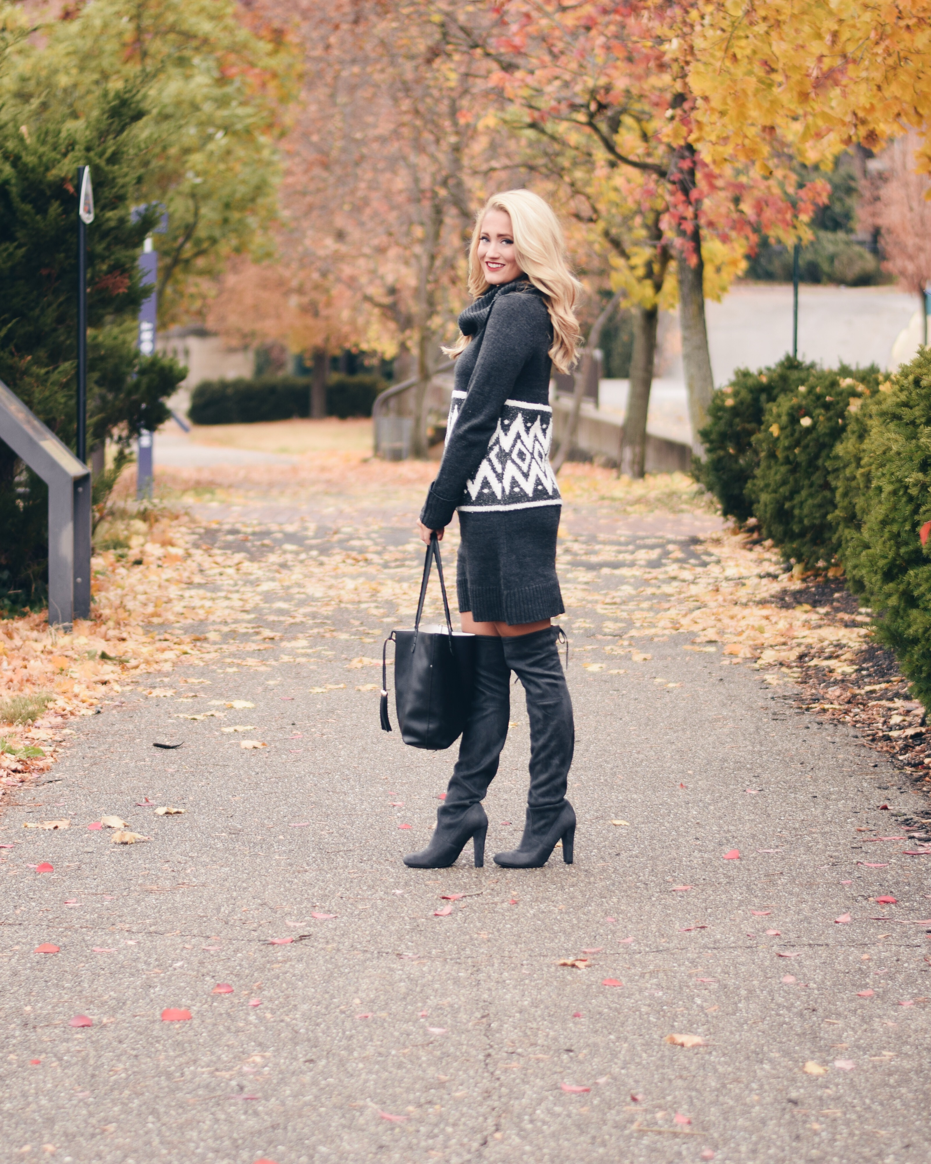 sweater dress and over the knee boots