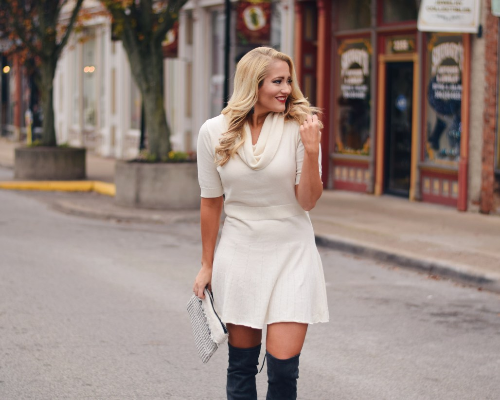 white fit and flare sweater dress