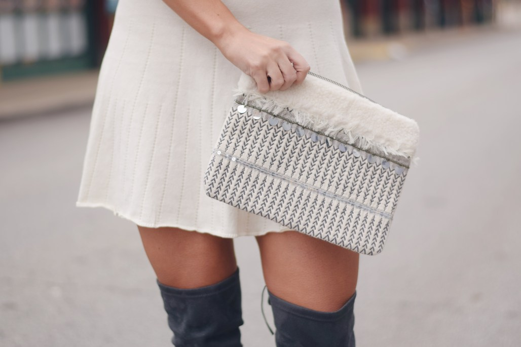 embroidered sequin clutch