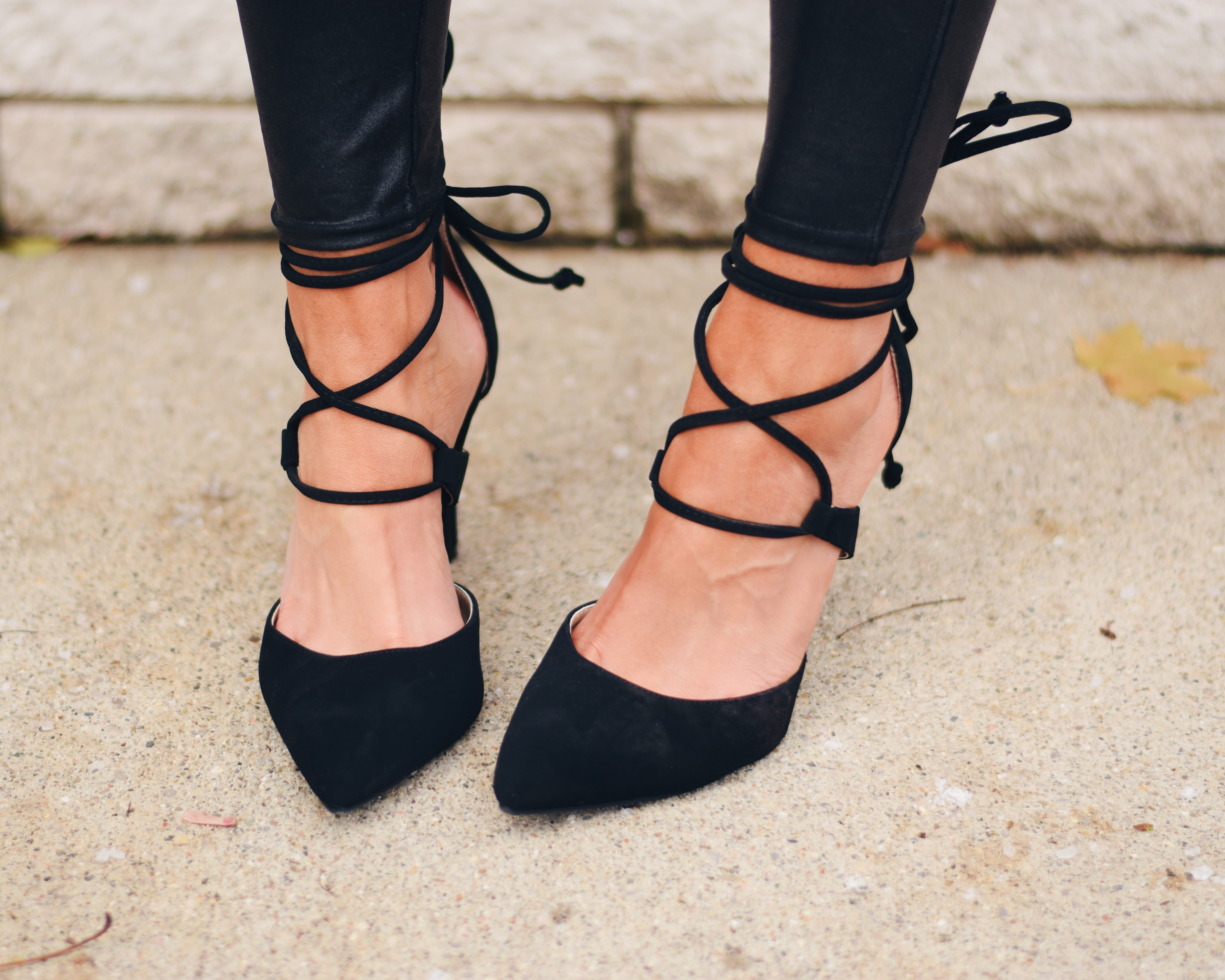 black suede lace up pointed toe pumps