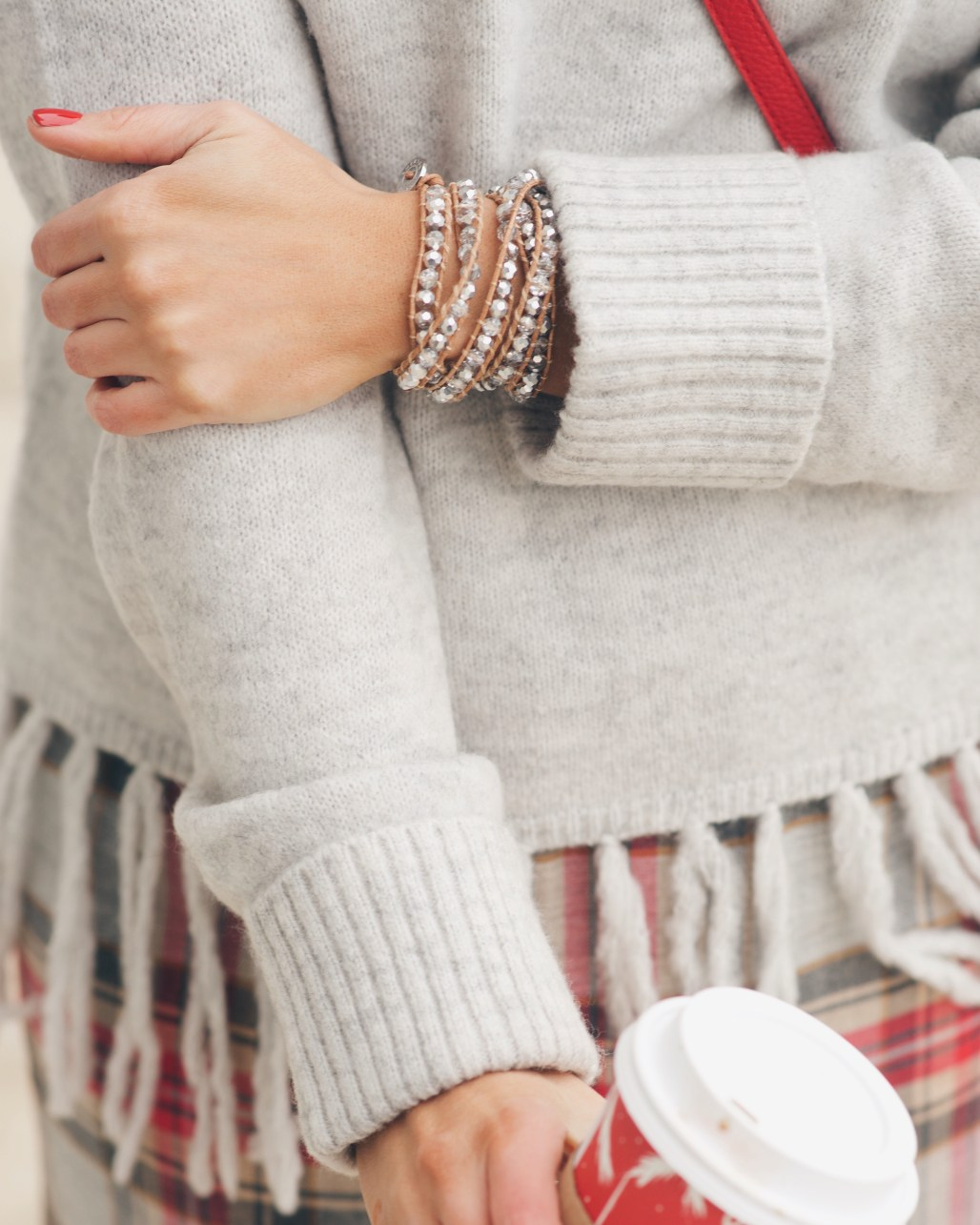 Brown and silver victoria emerson wrap bracelet