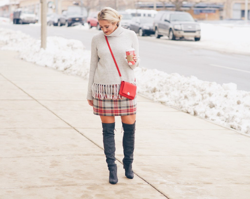 plaid j crew skirt with tassel sweater and over the knee boots