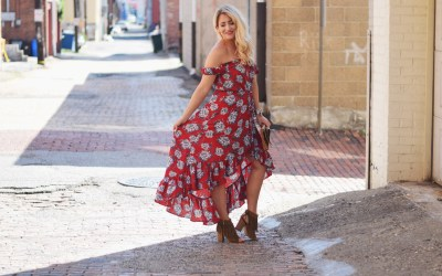 RED FLORAL HI-LOW DRESS