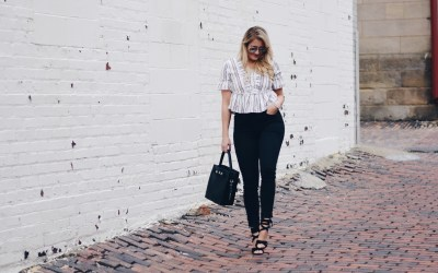 LACE UP RUFFLE TOP