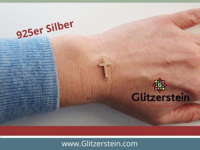 Schmuckverbinder Kreuz 925 Silber vergoldet mit Zirkonia
