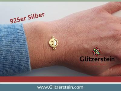 Schmuckverbinder Smiley 925 Silber vergoldet