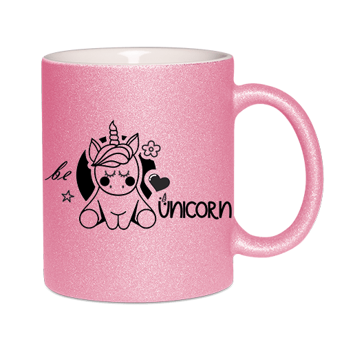 Glitzertasse Violett - be unicorn