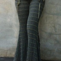 Grey Pattern Elastic Waist Long Pants - Pants