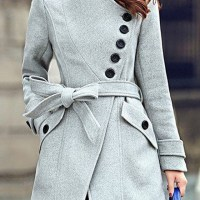 Grey Plain Belt Buttons Pockets Single Breasted Wool Coat