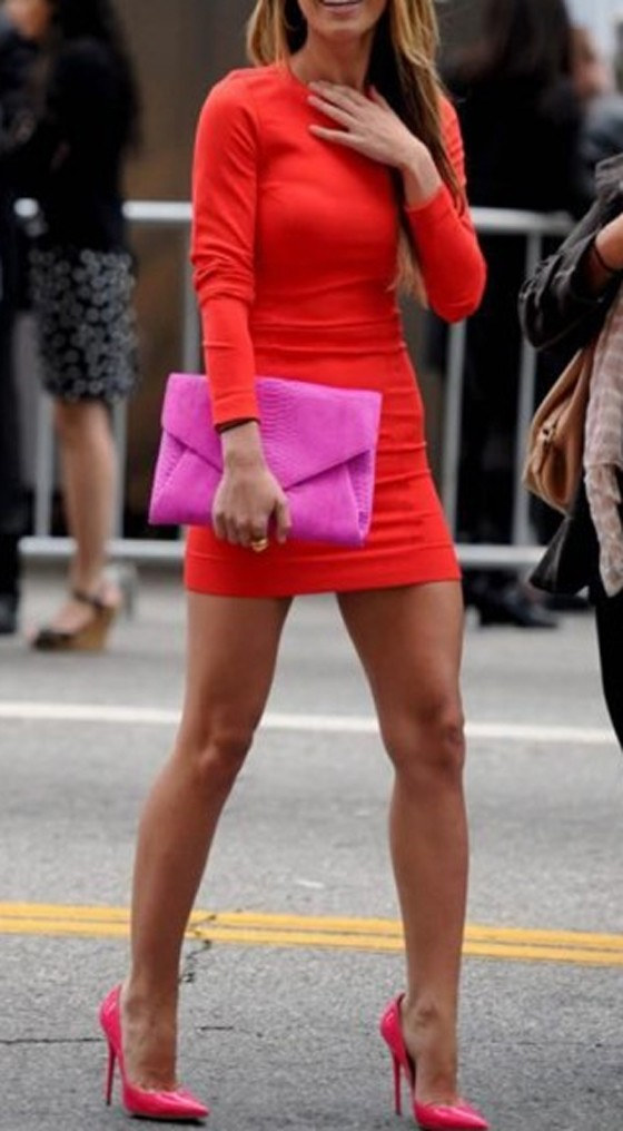 Red Plain Round Neck Long Sleeve Mini Dress