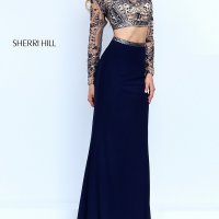 Sherri Hill Two-Piece Long Sleeve Dress-PromGirl