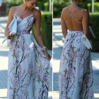 Multicolor Floral Pattern V-neck Party Polyester Maxi Dress - Robes