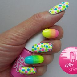 Neon gradients & dots @ma_nails_uk