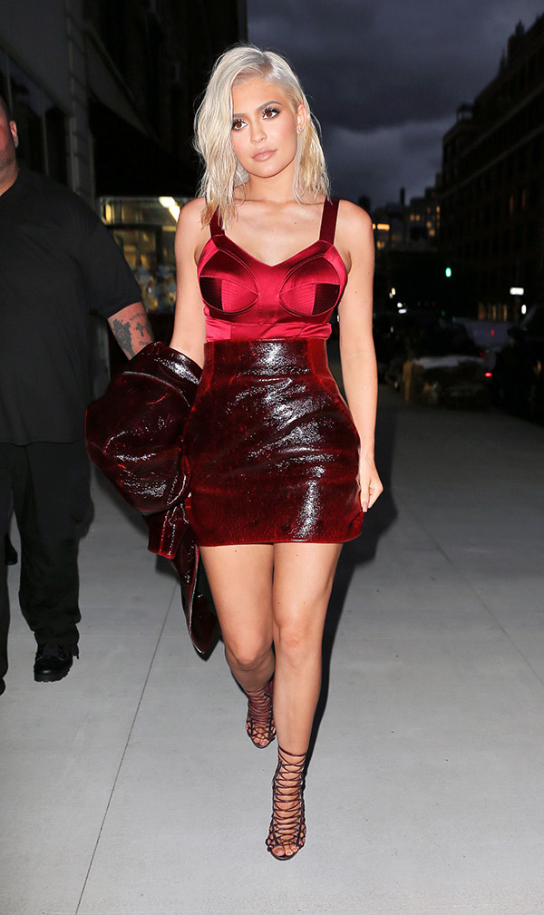 Kylie Jenner wears a sexy red outfit paired with new platinum blonde hair when out and about in  ...